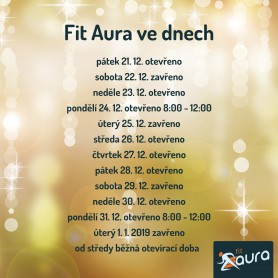 Fit Aura má mezi vánočními svátky otevřeno